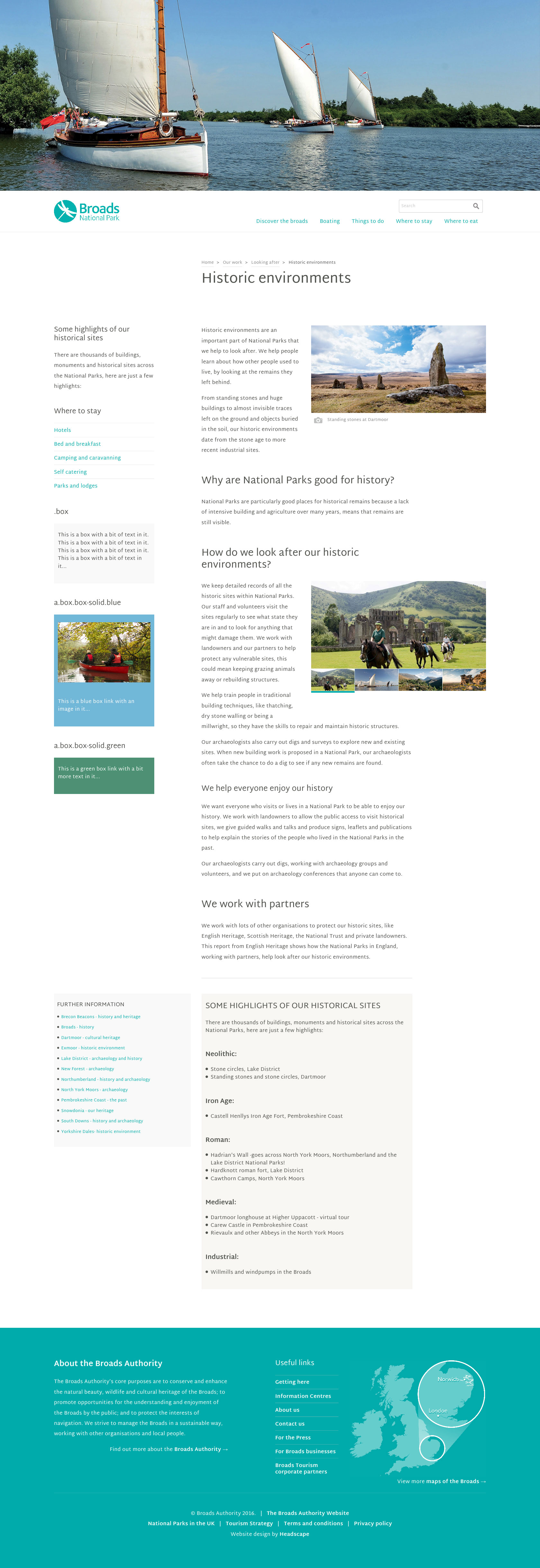 Broads National Park - Website design