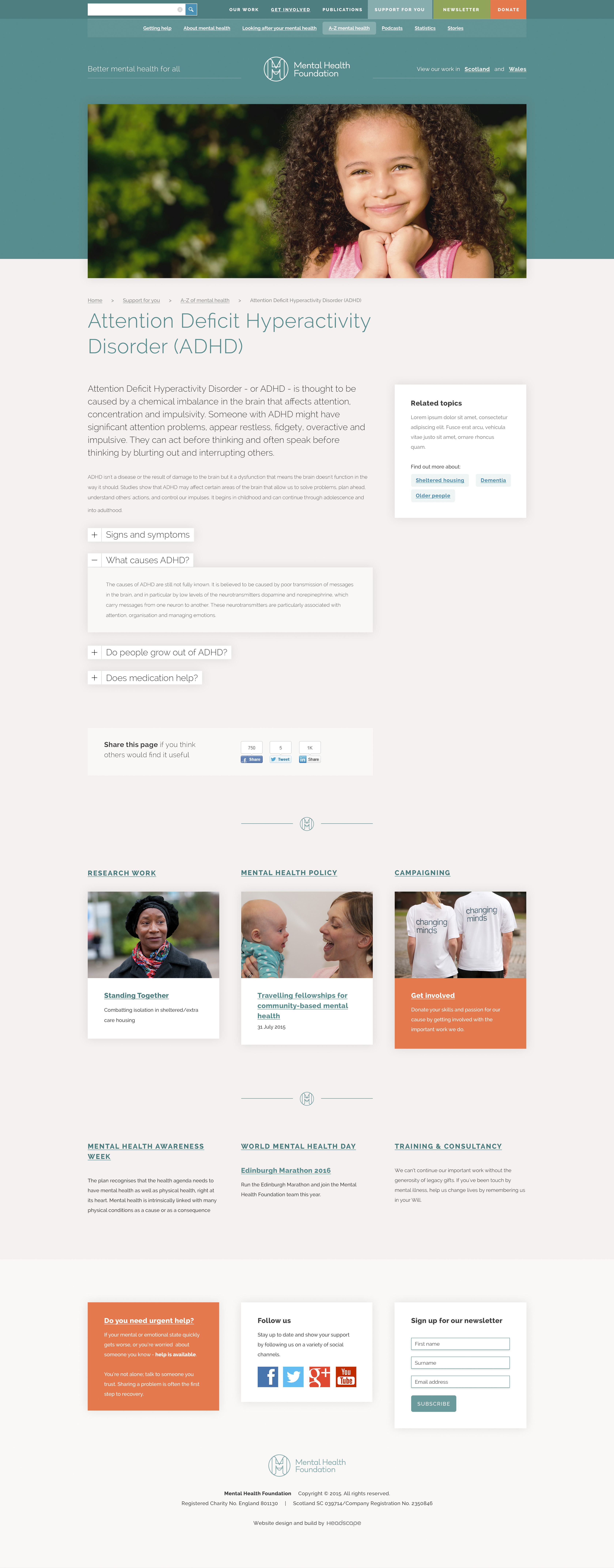 Mental Health Foundation - Website design
