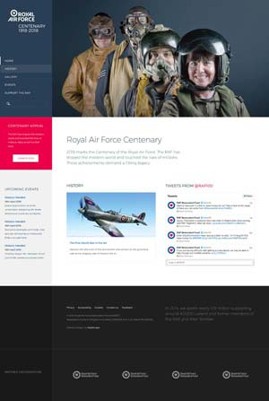 Royal Air Force Centenary - Website design